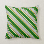 [ Thumbnail: Goldenrod, Beige, Dark Green, Grey & Green Lines Throw Pillow ]