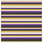 [ Thumbnail: Goldenrod, Beige, Indigo, and Black Colored Lines Fabric ]
