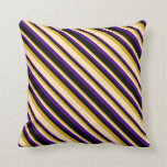 [ Thumbnail: Goldenrod, Beige, Indigo, and Black Colored Lines Throw Pillow ]