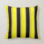[ Thumbnail: Goldenrod, Bisque, Yellow, Black & Midnight Blue Throw Pillow ]