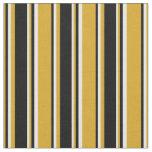 [ Thumbnail: Goldenrod, Black, and White Stripes Fabric ]