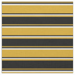 [ Thumbnail: Goldenrod, Black, and White Stripes/Lines Pattern Fabric ]
