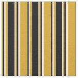 [ Thumbnail: Goldenrod, Black, and White Stripes Pattern Fabric ]