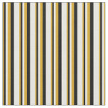 [ Thumbnail: Goldenrod, Black & White Lined/Striped Pattern Fabric ]