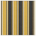[ Thumbnail: Goldenrod, Black & White Lines Fabric ]