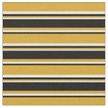 [ Thumbnail: Goldenrod, Black & White Pattern of Stripes Fabric ]