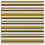 [ Thumbnail: Goldenrod, Black & White Stripes/Lines Pattern Fabric ]