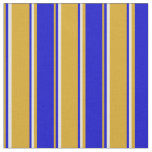 [ Thumbnail: Goldenrod, Blue, and Light Yellow Colored Pattern Fabric ]