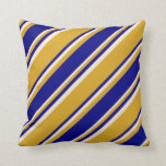 [ Thumbnail: Goldenrod, Blue & Beige Colored Pattern Pillow ]