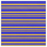 [ Thumbnail: Goldenrod & Blue Colored Stripes Fabric ]