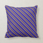 [ Thumbnail: Goldenrod & Blue Colored Stripes Throw Pillow ]