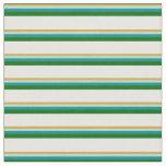 [ Thumbnail: Goldenrod, Blue, Cyan, Dark Green & Mint Cream Fabric ]