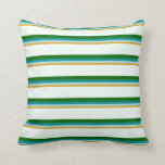 [ Thumbnail: Goldenrod, Blue, Cyan, Dark Green & Mint Cream Throw Pillow ]