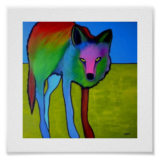 """""""Goldenrod Coyote"""" poster"""