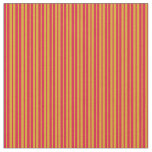 [ Thumbnail: Goldenrod & Crimson Colored Lined Pattern Fabric ]