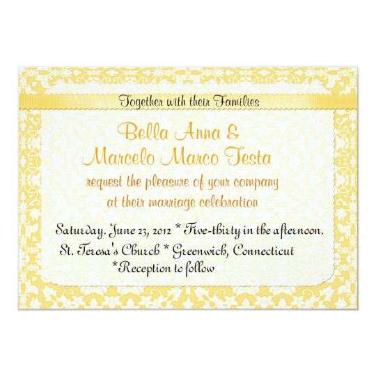 Goldenrod  Damask Invitation