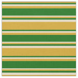 [ Thumbnail: Goldenrod, Dark Green & Tan Pattern Fabric ]
