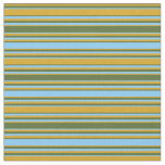 [ Thumbnail: Goldenrod, Dark Olive Green & Light Sky Blue Lines Fabric ]