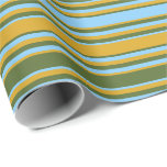 [ Thumbnail: Goldenrod, Dark Olive Green & Light Sky Blue Lines Wrapping Paper ]