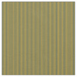 [ Thumbnail: Goldenrod & Dark Slate Gray Colored Lines Pattern Fabric ]