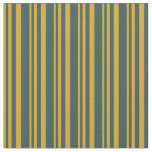 [ Thumbnail: Goldenrod & Dark Slate Gray Pattern of Stripes Fabric ]
