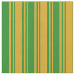 [ Thumbnail: Goldenrod & Forest Green Colored Stripes Pattern Fabric ]