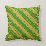 [ Thumbnail: Goldenrod & Forest Green Colored Stripes Pattern Throw Pillow ]