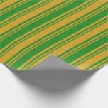 [ Thumbnail: Goldenrod & Forest Green Colored Stripes Pattern Wrapping Paper ]