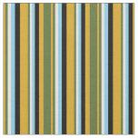 [ Thumbnail: Goldenrod, Green, Light Cyan, Sky Blue & Black Fabric ]