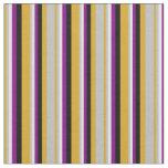 [ Thumbnail: Goldenrod, Grey, Light Cyan, Purple & Black Lines Fabric ]