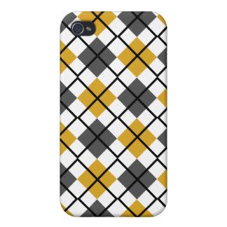 Goldenrod, Grey, White, Black Argyle iPhone 4 Case