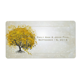 Goldenrod Heart Leaf Tree with Stars Save the Date Label