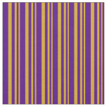 [ Thumbnail: Goldenrod & Indigo Stripes Fabric ]