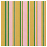 [ Thumbnail: Goldenrod, Light Pink, and Dark Green Colored Fabric ]