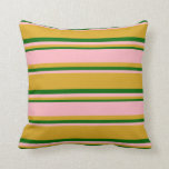 [ Thumbnail: Goldenrod, Light Pink, and Dark Green Colored Throw Pillow ]