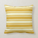 [ Thumbnail: Goldenrod & Light Yellow Colored Stripes Pillow ]
