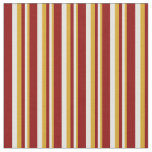[ Thumbnail: Goldenrod, Light Yellow & Dark Red Pattern Fabric ]