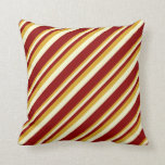 [ Thumbnail: Goldenrod, Light Yellow & Dark Red Pattern Pillow ]