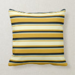 [ Thumbnail: Goldenrod, Light Yellow, Dark Slate Gray & Black Throw Pillow ]