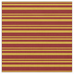 [ Thumbnail: Goldenrod & Maroon Stripes Fabric ]