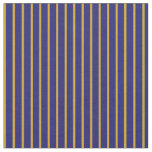 [ Thumbnail: Goldenrod & Midnight Blue Colored Striped Pattern Fabric ]