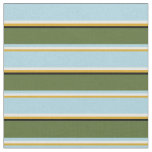 [ Thumbnail: Goldenrod, Mint Cream, Blue, Olive Green & Black Fabric ]