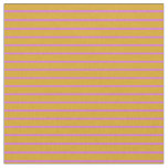 [ Thumbnail: Goldenrod & Orchid Lined Pattern Fabric ]