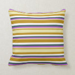 [ Thumbnail: Goldenrod, Pale Goldenrod, Orchid, Gray & White Throw Pillow ]