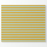 [ Thumbnail: Goldenrod & Powder Blue Colored Pattern Wrapping Paper ]