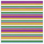 [ Thumbnail: Goldenrod, Purple, Sky Blue, Green & Mint Cream Fabric ]