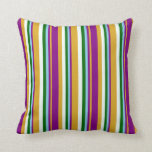 [ Thumbnail: Goldenrod, Purple, Sky Blue, Green & Mint Cream Throw Pillow ]