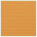[ Thumbnail: Goldenrod & Red Lines Fabric ]