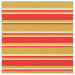 [ Thumbnail: Goldenrod, Red & Tan Colored Lines Fabric ]