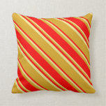 [ Thumbnail: Goldenrod, Red & Tan Colored Lines Throw Pillow ]